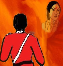 A British soldier watches as Sati is being committed.