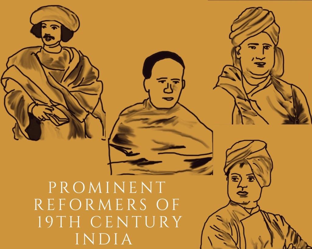 A collage of prominent social reformers of 19th century India: Raja RamMohun Roy, Ishwarchandra Vidyasagar, Swami Dayanand Saraswati, Swami Vivekananda